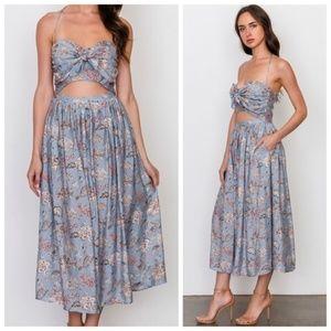 Blue cutout midi dress